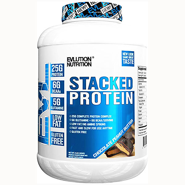 Evlution Nutrition Stacked Protein - Blended 5 protein formula designed to delivery 25g per serving along with 5g of glutamine and 5g of BCAA's all without ANY spiking!